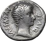 obverse:  Augustus (27 BC - 14 AD). AR Denarius, 15-13 BC. Lugdunum mint.