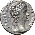 obverse:  Augustus (27 BC - 14 AD.). AR Denarius, 8 BC. Lugdunum mint.
