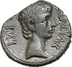 obverse:  Augustus (27 BC. - 14 AD.). AE Quadrans, Lugdunum mint. Struck circa 15-10 BC.
