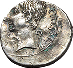 obverse:  Augustus (27 BC - 14 AD). Fourrée Denarius. Uncertain mint (Brundisium and Rome ?), 28 BC.