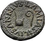 obverse:  Augustus (27 BC - 14 AD). AE Quadrans. Struck 9 BC. Moneyers Lamia, Silius, and Annius.