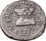 obverse:  Augustus (27 BC - 14 AD). AE Quadrans, Pulcher, Taurus and Regulus as III viri monetales, 8 BC.