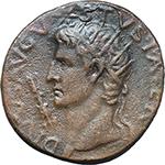obverse:  Augustus (27 BC - 14 AD). AE Dupondius, Rome mint. Struck under Tiberius, circa 15-16 AD.