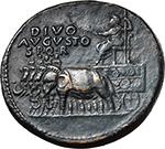 obverse:  Divus Augustus (died 14 AD). AE Sestertius, Rome mint. Struck under Tiberius, 35-36 AD.