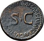 reverse:  Divus Augustus (died 14 AD). AE Sestertius, Rome mint. Struck under Tiberius, 35-36 AD.