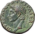 obverse:  Augustus (27 BC. - 14 AD.). AE As (?), struck under Tiberius, 34-37.