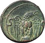 reverse:  Augustus (27 BC. - 14 AD.). AE As (?), struck under Tiberius, 34-37.