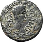obverse:  Augustus (27 BC. - 14 AD.). AE 28mm., L. Cornelius Terrenus and M. Junius Hispanus Ilvri. Spain, Lepida-Celsa mint.