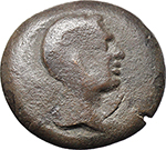 obverse:  Augustus (27 BC - 14 AD). AE Tetrachalkon, Lakedaimon (Sparta), 48-35 BC, countermarked with a bare head of Octavian/Augustus to right, within a circular indent.