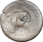 reverse:  Augustus (27 BC - 14 AD). AE Tetrachalkon, Lakedaimon (Sparta), 48-35 BC, countermarked with a bare head of Octavian/Augustus to right, within a circular indent.
