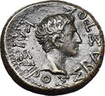 reverse:  Augustus and Rhoemetalces I (11 BC-12 AD). AE 19 mm, Thracian mint.