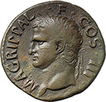obverse:  Agrippa (died 12 BC.). AE As, struck under Tiberius or Caligula.