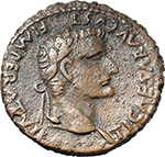 obverse:  Tiberius (14-37). AE As, struck under Augustus, 12 AD.