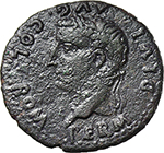 obverse:  Tiberius, with Germanicus and Drusus. AE 29 mm., Spain, Romula mint.