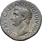 obverse:  Drusus, son of Tiberius (died 23 AD). AE As, Rome mint. Struck under Tiberius, 22-23 AD.