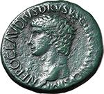 obverse:  Nero Claudius Drusus, brother of Tiberius, father of Germanicus and Claudius (died 9 AD). AE Sestertius, 50-54 AD.