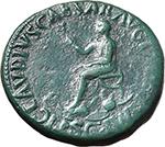 reverse:  Nero Claudius Drusus, brother of Tiberius, father of Germanicus and Claudius (died 9 AD). AE Sestertius, 50-54 AD.