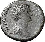 obverse:  Antonia Minor, mother of Claudius (Augusta 37 and 41). AE Dupondius, 41-50 AD.