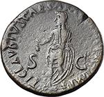reverse:  Antonia Minor, mother of Claudius (Augusta 37 and 41). AE Dupondius, 41-50 AD.