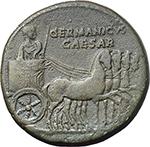 obverse:  Germanicus (died in 19 AD.). AE Dupondius, struck under Caligula.