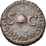 obverse:  Gaius called Caligula (37-41). AE Quadrans. Struck 40-41 AD.