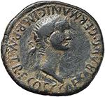 obverse:  Caligula (37-41) with Caesonia. AE 30mm., Spain, Carthago Nova mint.