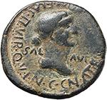 reverse:  Caligula (37-41) with Caesonia. AE 30mm., Spain, Carthago Nova mint.