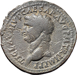 obverse:  Claudius (41-54). AE As. Restitution issue. Rome mint. Struck under Domitian, 82 AD.