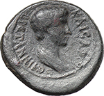 reverse:  Britannicus and Nero as Caesars. AE 18mm., Pergamum (Mysia).