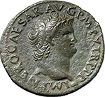 obverse:  Nero (54-68). AE As, Lugdunum mint.