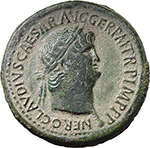 obverse:  Nero (54-68). AE Sestertius. Uncertain Balkan mint, possibly Perinthus in Thrace.