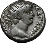 obverse:  Nero with Poppaea. BI Tetradrachm, 63-64 AD. Alexandria mint.