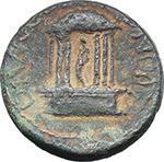 reverse:  Diva Poppaea and Diva Claudia (died 65 and 63 AD.). AE 19 mm. Caesarea, Trachonitis, Syria. Struck under Nero, c. 65 AD.