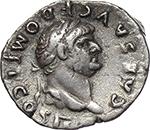 obverse:  Domitian as Caesar (69-81). AR Quinarius, 73 AD.