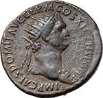 obverse:  Domitian (81-96). AE Dupondius, 85 AD.