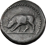 reverse:  Domitian (81-96). AE Quadrans. Rome mint. Struck AD 83 and later.