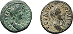 obverse:  Domitia, wife of Domitian (Augusta, 82-96 AD). Lot of 2 provincial AE: AE 15 mm, Magnesia ad Sipylum, Ionia (RPC 896. SNG Cop. 259) and AE 16 mm, Sala, Lydia (RPC 1345. SNG Cop. 437).