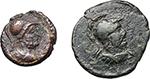 obverse:  Anonymous Quadrantes. Period of Domitian to Antoninus Pius.  Lot of 2 AE Quadrantes (one smaller), Group VI, Mars.