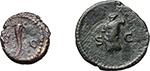 reverse:  Anonymous Quadrantes. Period of Domitian to Antoninus Pius.  Lot of 2 AE Quadrantes (one smaller), Group VI, Mars.