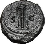 reverse:  Anonymous Quadrantes. Period of Domitian to Antoninus Pius.  AE Quadrans, Group VIII. Apollo.