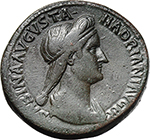 obverse:  Sabina, wife of Hadrian (died in 137 AD.). AE Sestertius.
