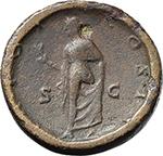 reverse:  Aelius Caesar (136-138). AE Sestertius, 137 AD. Hammered.