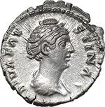 obverse:  Faustina I, wife of Antoninus Pius (died 141 AD.). AR Denarius.
