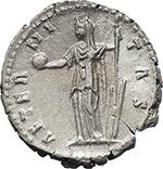 reverse:  Faustina I, wife of Antoninus Pius (died 141 AD.). AR Denarius.