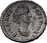 obverse:  Faustina I, wife of Antoninus Pius (died 141 AD). Fourrée Denarius core(?).
