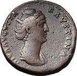 obverse:  Faustina I, wife of Antoninus Pius (died 141 AD). AE Sestertius, struck under Antoninus Pius, after 141 AD.