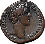 obverse:  Marcus Aurelius as Caesar (139-161). AE Sestertius, circa 140-144 AD.