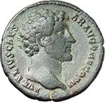 obverse:  Marcus Aurelius as Caesar (139-161). AE As, 145 AD.