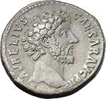 obverse:  Marcus Aurelius as Caesar (139-161). AE As, 159-160 AD.