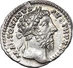 obverse:  Marcus Aurelius (161-180). AR Denarius, 169-170.